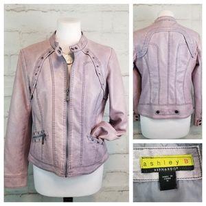 Ashley B M Pink Blue Vegan Faux Leather Jacket